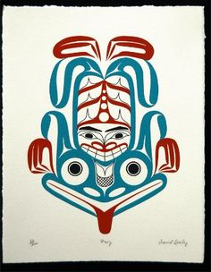 """Frog"" signed and numbered limited edition print by David Boxley. David is a Tsimshian Native Artist from Metlakatla, Alaska. Haida Kunst, Inuit Kunst, Inuit Art, Native Symbols, Native Art, Tribal Art, Tribal Prints, Art Prints, Native American Print"
