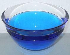 Incredibly FASCINATING Blue INCALMO Signed ART Glass BOWL Modern LARS HELLSTEN