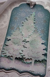 Olena Levchenko: Olena's Place for CottageBLOG: Woodland Pine Trees gift tag - 12/23/13. (Dies: Woodland Pine Trees; Francy Insert Card/Tag). (Pin#1: Dies: Cottage Cutz. Pin+: Christmas: Tags...; Christmas: Trees)