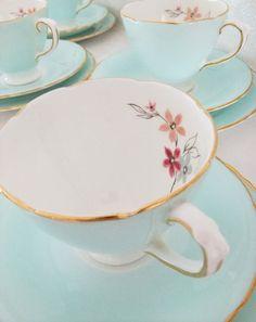 Vintage Delphine Bone China tea set - shabby chic - duck egg blue / aqua. £70.00, via Etsy.