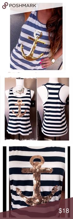 """H.P.🎉 ONE LEFT ⚓️ Tank Top Racer style blue and white stripe tank with a gold Sequin anchor. MEASUREMENTS: Bust- 18.5"""". ❌PRICE IS FIRM, UNLESS BUNDLED.❌ Baluoke Tops Tank Tops"""