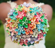 Origami wedding bouquet - so much love has gone into each of these flowers :-)