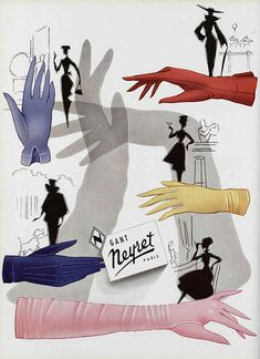 50s ad : Neyret gloves    source : L'officiel magazine, n° 397-398, 1955