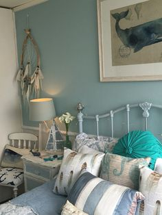 Gorgeous coastal bedroom I love how it's coming together!