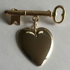 Vintage 1950's SWEETHEART Lapel Pin Brooch with Heart & Key