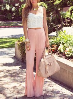 fashforfashion -♛ STYLE INSPIRATIONS♛: classy- Pink Palazzo pants very trendy and comfy!