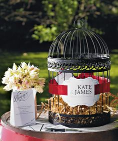 beautiful black bird cage for wedding card holder...perfect for vintage style weddings