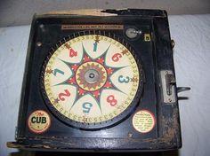 "Circa 1930 Bally brand ""The Cub"" coin-op roulette game/trade stimulator."