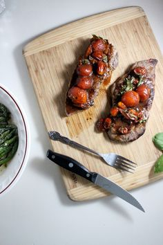 new york strip steak with balsamic roasted cherry tomatoes keys to the cucina 3