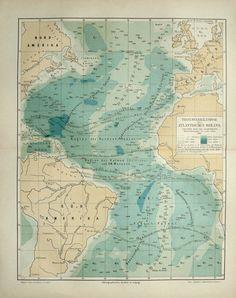 1894 Antique map of the ATLANTIC OCEAN. 119 by AntiquePrintsOnly, $16.50