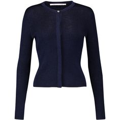 Diane von Furstenberg - Shayda Ribbed-knit Cardigan ($109) ❤ liked on Polyvore featuring tops, cardigans, midnight blue, blue top, blue cardigan, diane von furstenberg, rib knit top and ribbed knit cardigan