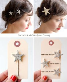Sparkly star bobby pins | 24 Cool And Inexpensive Bobby Pin DIYs
