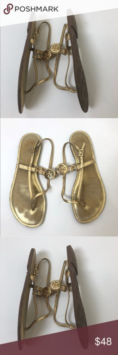 85b2174886 TORY BURCH ALI SANDALS IN GOLD Tory Burch Ali sandals with logo medallion  at uppers