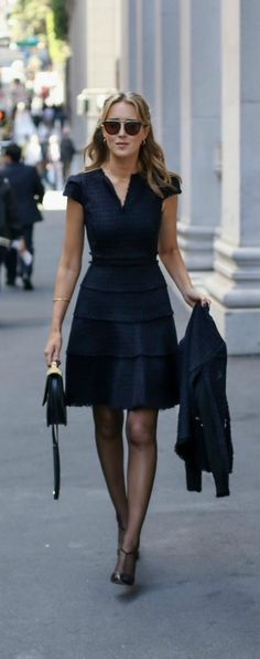 Black and navy tweed fit and flare short sleeve dress with coordinating suit jacket perfect for fall and winter business formal work events {rebecca taylor, sjp collection, m2malletier}