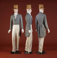 1820-25- cotton plaid morning coat; Gray linen morning coat- 1820's-30's, Blue and white houndstooth cotton morning coat, made by Ann Tetrick 1836; White linen ruffled shirt 1800-1830; White linen trousers , ca. 1830's