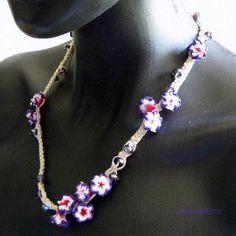 A Bunch of purple flowers necklace by handmadefuzzy, $23.00 USD