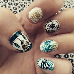 Egyptian themed nails done with mo you London nail plates