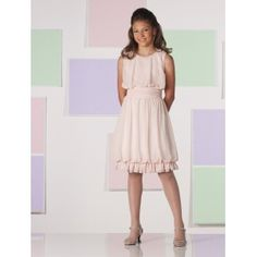 Sleeveless chiffon knee length junior bridesmaid dress with A-line silhouette and beaded jewel neckline. Blouson bodice with ruched natural waistline. Free made-to-measurement service for any size. Available colors seen as in Color Options.