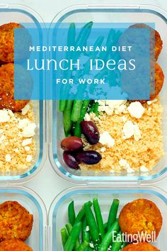 it's abundant in fruits, vegetables and olive oil and sparing with meat. Pack up these Mediterranean Diet lunch ideas for work and eat healthier all week long. Easy Mediterranean Diet Recipes, Mediterranean Dishes, What Is Mediterranean Diet, Mediterranean Diet Shopping List, Mediterranean Diet Breakfast, Diet Snacks, Healthy Snacks, Healthy Eating, Clean Eating