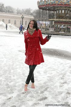 My husband has asked me to go out in public during a snowstorm barefoot... and wearing a skirt and a bare belly top. He wants to take me to crowded places and I told him yes! What an incredibly sexy experience!