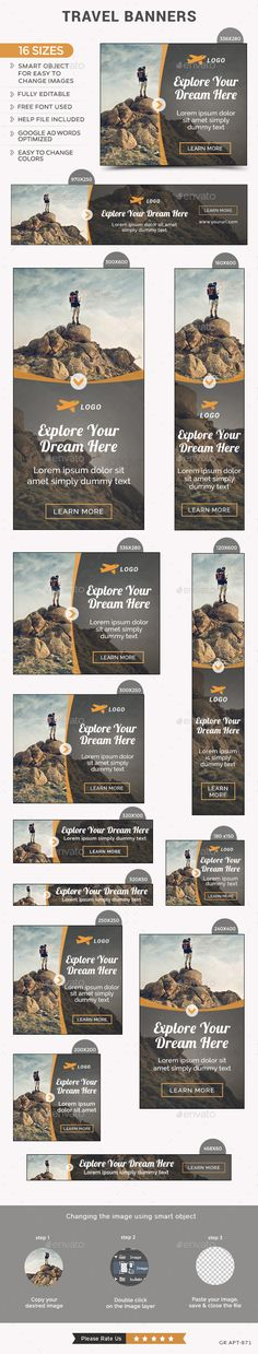 Travel Web Banners Template #design #ads Download: http://graphicriver.net/item/travel-banners/12802017?ref=ksioks