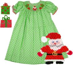 Christmas Santa Green Polka Dot Bishop Smocked Dress