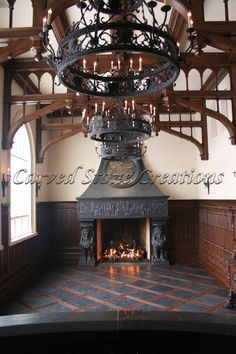 Beautiful Stone Fireplaces this fireplace design has multiple intricate carved details, from