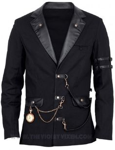 Mens black overcoat, so hot! Sorry, watch not included. ;) The Violet Vixen - Doctor Mercurial's Overcoat, $168.00 (http://thevioletvixen.com/mens/coats-and-jackets/doctor-mercurials-overcoat/) mens black overcoat jacket coat leather straps buckles pockets steampunk military goth
