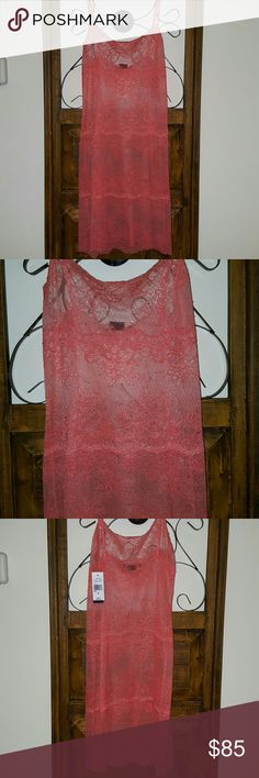 Coral charm and appeal chemise! NWT, absolutely gorgeous coral lace chemise by Natori!!!  Lovely color and lace design. Natori  Intimates & Sleepwear Chemises & Slips