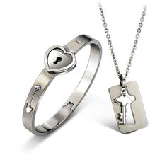 Lock and Key Bracelet Necklace Set Lockable Bracelet by FanDuoDuo, $29.00