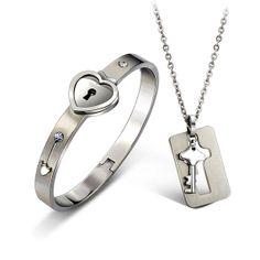 Lock and Key Bracelet Necklace Set Lockable Bracelet by FanDuoDuo, $29.00