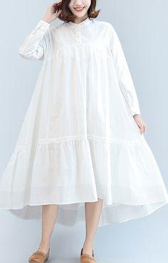 white casual cotton dresses plus size brief women dress long sleeve maxi dress Casual Cotton Dress, Cotton Dresses, Dress Casual, Hijab Casual, Casual Dresses Plus Size, Trendy Dresses, Summer Dress Outfits, Casual Summer Dresses, Beach Dresses