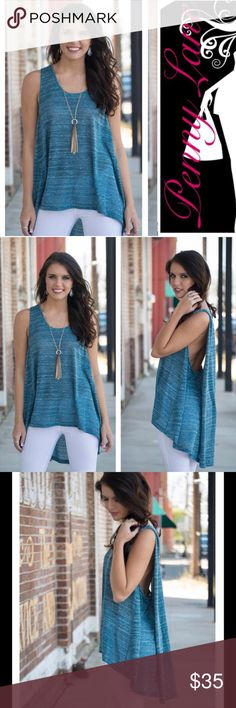 """Blue heathered hi-low top! Summer nights 🌞❤️ This is simply gorgeous! Beautiful ocean blue color with heathering! Slightly sheer style just hangs from your shoulders creating a sexy silhouette ! Too shy? Pair with a pretty bralette to cover your """"bases"""" ;) Infinity Raine Tops Tank Tops"""