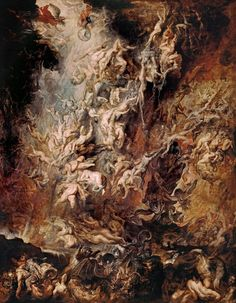 """The Fall of the Damned, conversely known as The Fall of the Rebel Angels is a monumental religious painting by Peter Paul Rubens. It features a jumble of the bodies of the damned, hurled into abyss by archangel Michael and accompanying angels. David Freedberg assessed this painting manner as the """"most brilliant assemblages of lusciously naked flesh in Western art""""."""