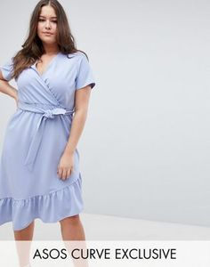e7bc8f14751 Shop ASOS DESIGN Curve midi dress with belt and frill detail at ASOS.  Discover fashion