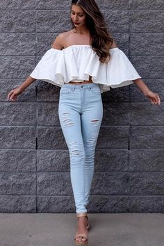 Love the top, but the jeans should be a darker blue/ black, & the heels should be black instead