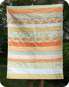 A quick and easy baby quilt in any combonation of fabrics and colors...love