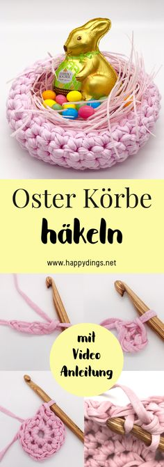 Körbe häkeln - Wohnideen und DIY Deko mit OTTO mit Video Make DIY Easter basket yourself. Crochet baskets yourself as decoration for Easter. Simple crochet pattern for an Easter basket in German. Crochet Simple, Easy Crochet Patterns, Diy Crochet, Diy Gifts For Kids, Diy For Kids, Diy Ostern, Diy Décoration, Simple Gifts, Easter Baskets