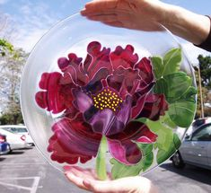 """2012 Kiln Formed Glass 3rd. Place """"Cranberry Italian Poppy"""" by Ruth"""