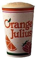 """Orange Julius...loved them growing up but was slightly terrified to go into the one in Montgomery Mall b/c the decor was """"hellish"""" right down to the devil w/ pitchfork and brimstone-like walls...what was that about??"""