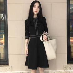 Clobee 2019 Black A Line Women Dress Vintage Elegant Full Sleeve Ladies  Dresses Korean Party Work School Femme Vestidos Z569 a733b44a89aa