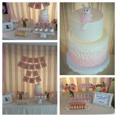 """""""Some bunny is one"""" themed birthday party for my daughter.  Dessert table has bunny and regular cake pops, personalized sugar cookies with her name, macarons, and birthday cake.  Everything catered by cake creamery in Beverly Hills.  Decorated the table with fresh flowers in mason jars, and a framed picture of my daughter with chocolate on her face!"""