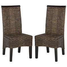 Ilya Brown Multi Wicker Dining Chairs (Set of 2)