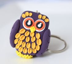 Purple owl keychain by MissSnowyOwl on Etsy