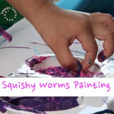 Painting with squishy worms. Fun tactile sensory play with great possibilities for messy play.