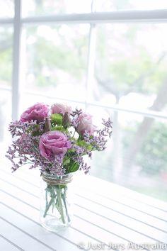 Beautiful flowers in jar.
