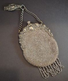 antique silver 1900s beaded chatelaine bag $350