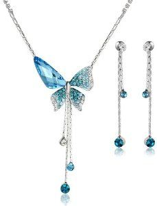 Arco Iris Butterfly Sunburst Swarovski Elements Crystal Necklace and Earring Set /  Various Colors: Blue, Pink and Violet