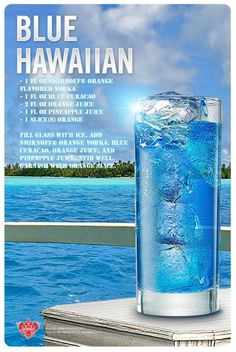 How to prepare a Blue Hawaiian for this perfect day? You'll need some orange flavored vodka, blue curacao, orange and pineapple juice Party Drinks Alcohol, Liquor Drinks, Alcohol Drink Recipes, Vodka Drinks, Cocktail Drinks, Mix Drinks With Vodka, Beverages, Cranberry Cocktail, Blue Drinks