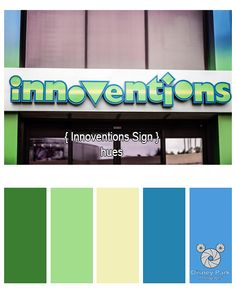 Here are the colors hues of the Innovention sign at Epcot in the Walt Disney World Resort.